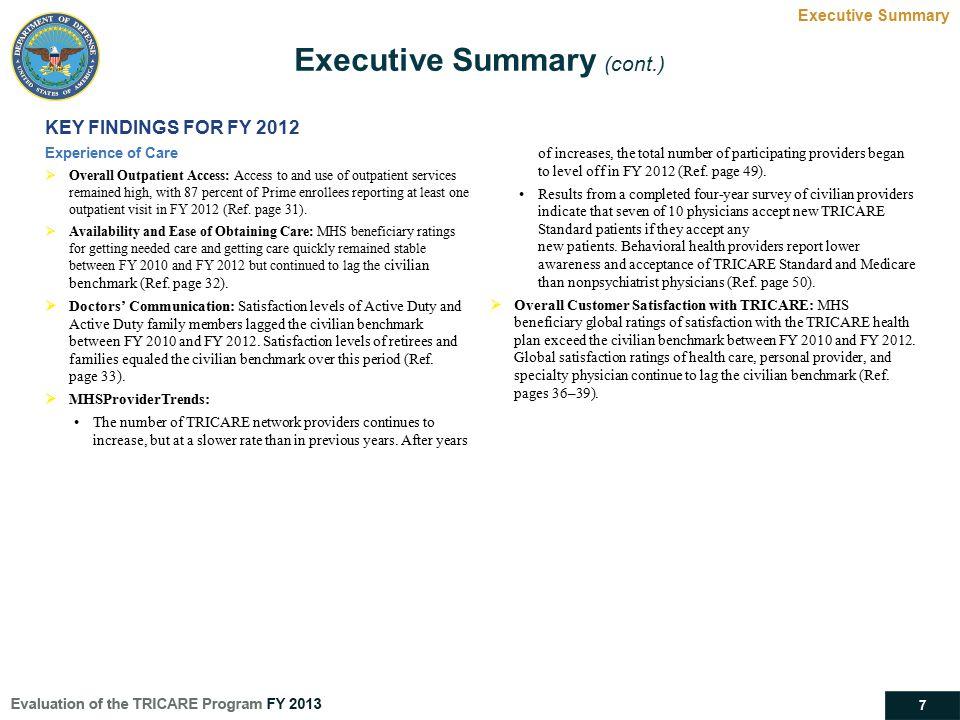 Executive Summary (cont.)