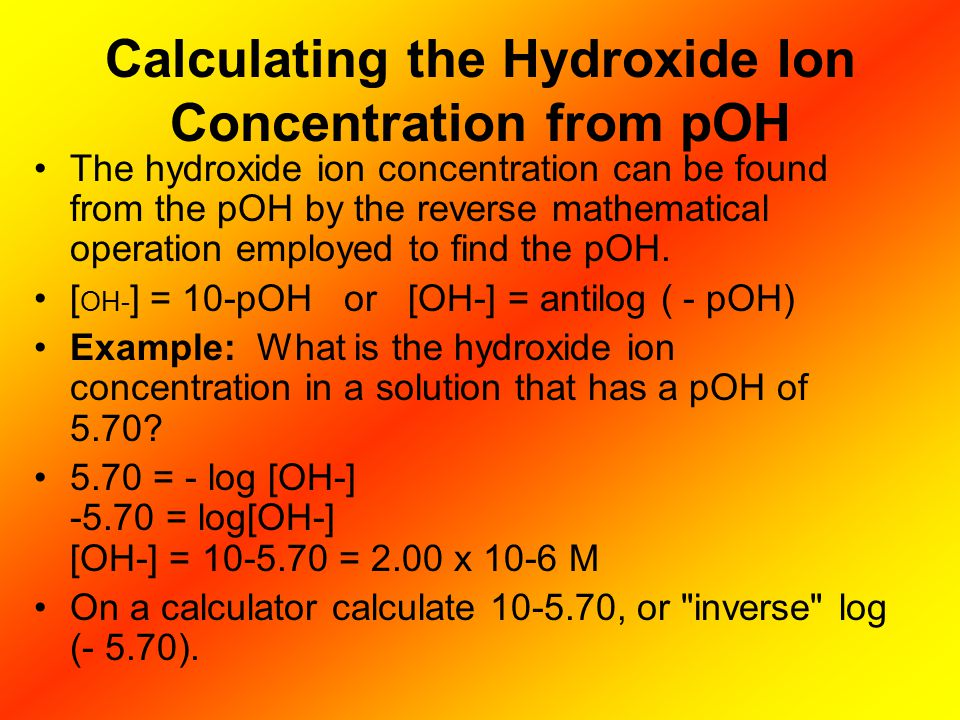 Calculating the Hydroxide Ion Concentration from pOH
