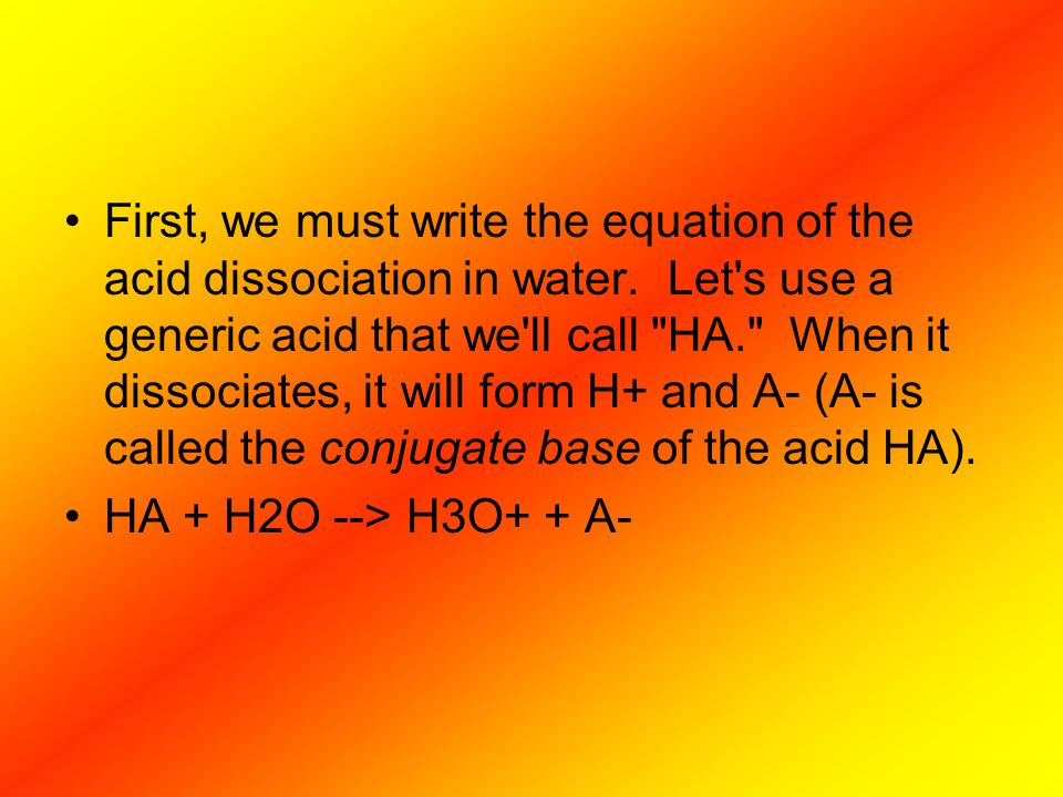 First, we must write the equation of the acid dissociation in water