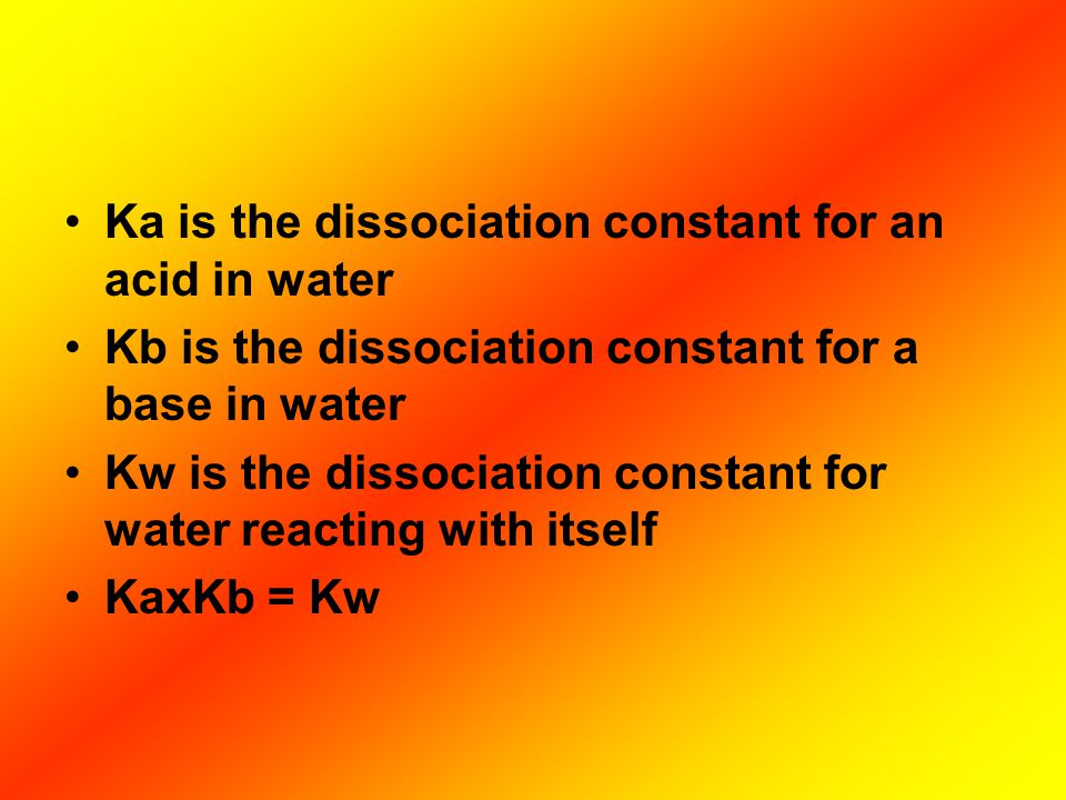 Ka is the dissociation constant for an acid in water