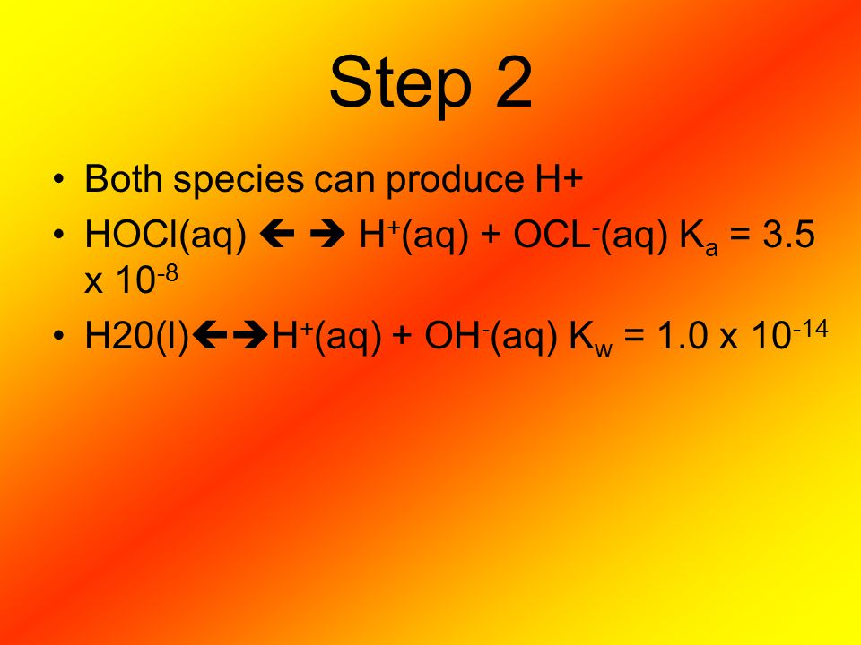 Step 2 Both species can produce H+
