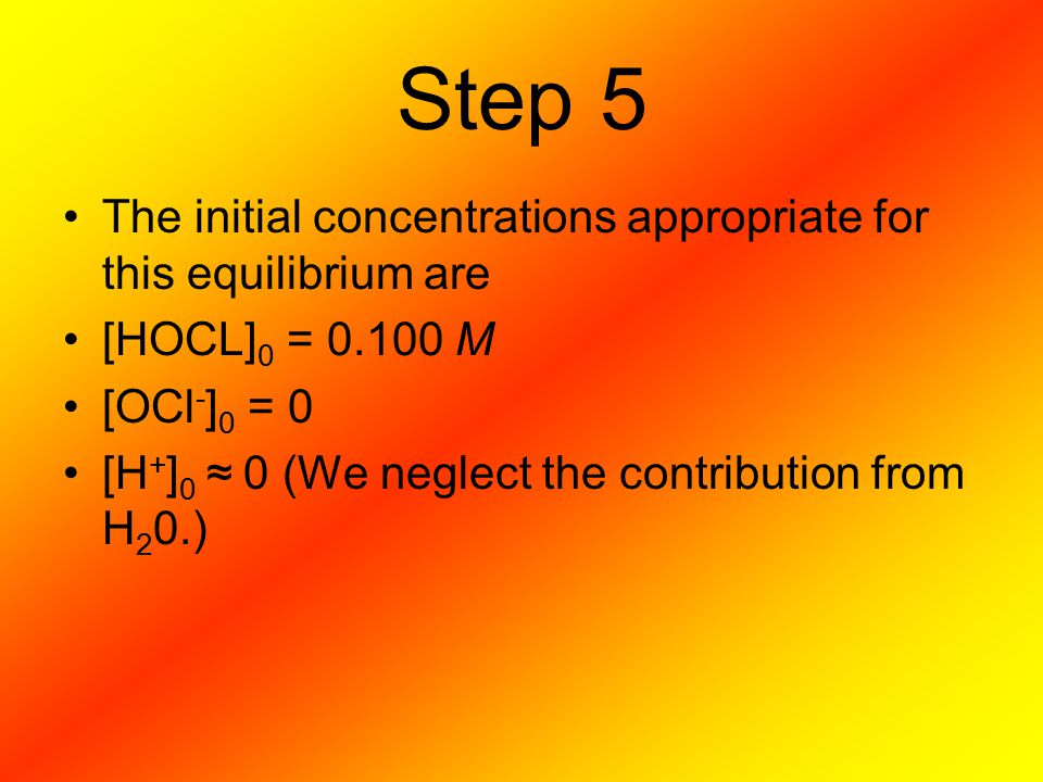 Step 5 The initial concentrations appropriate for this equilibrium are