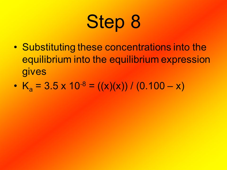 Step 8 Substituting these concentrations into the equilibrium into the equilibrium expression gives.