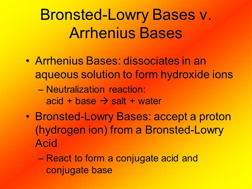 Bronsted-Lowry Bases v. Arrhenius Bases