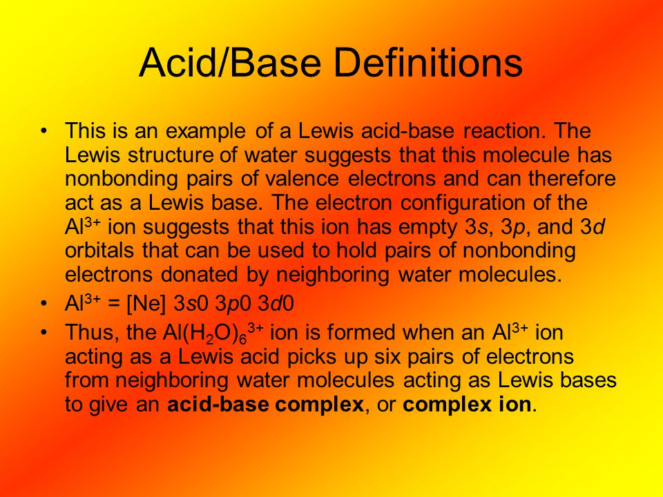 Acid/Base Definitions