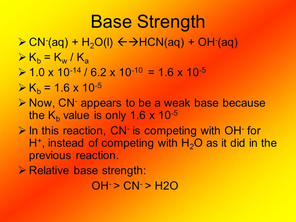 Base Strength CN-(aq) + H2O(l) HCN(aq) + OH-(aq) Kb = Kw / Ka