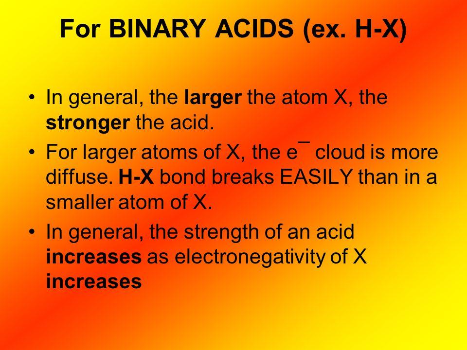 For BINARY ACIDS (ex. H-X)