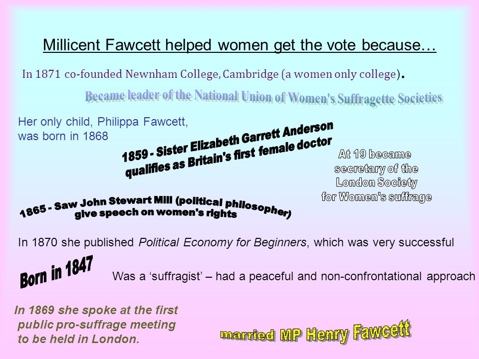 Millicent Fawcett helped women get the vote because…