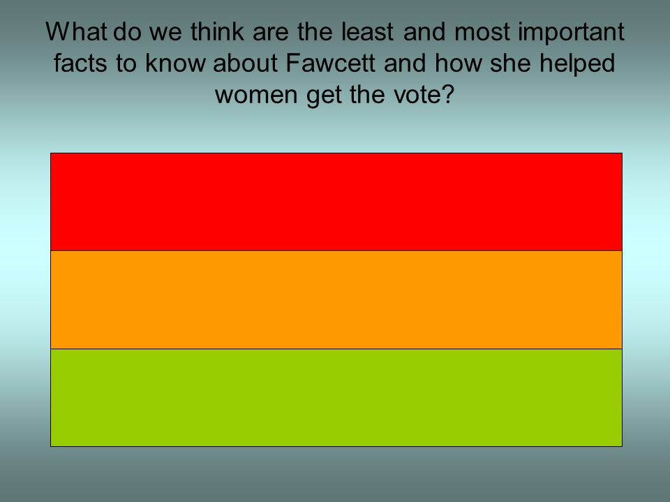 What do we think are the least and most important facts to know about Fawcett and how she helped women get the vote