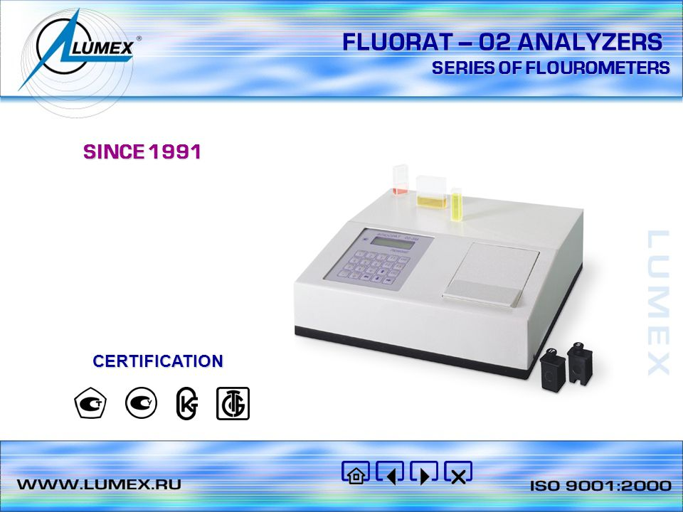 FLUORAT – 02 ANALYZERS SERIES OF FLOUROMETERS SINCE 1991 CERTIFICATION