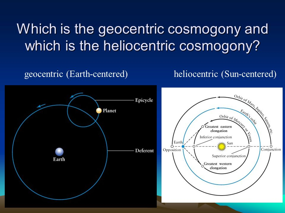 Which is the geocentric cosmogony and which is the heliocentric cosmogony
