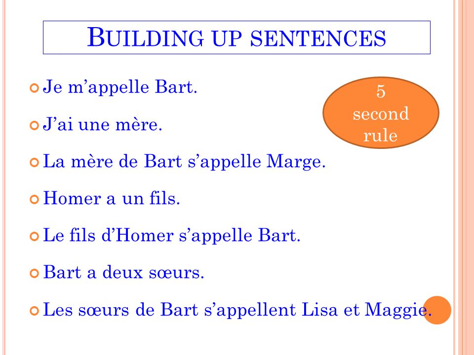 Building up sentences Je m'appelle Bart. 5 second rule J'ai une mère.