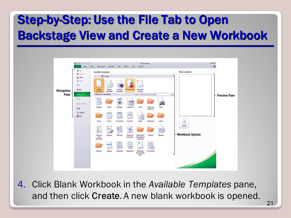 Step-by-Step: Use the File Tab to Open Backstage View and Create a New Workbook