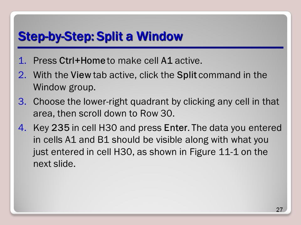 Step-by-Step: Split a Window