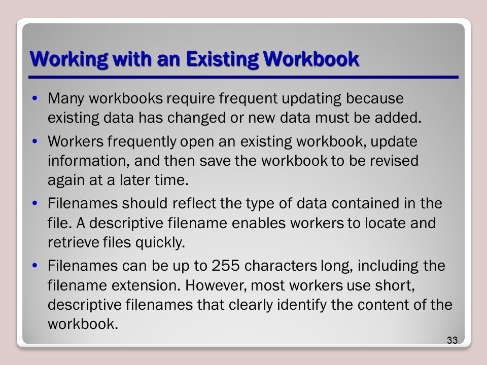 Working with an Existing Workbook