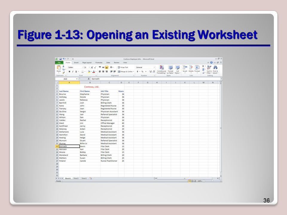 Figure 1-13: Opening an Existing Worksheet