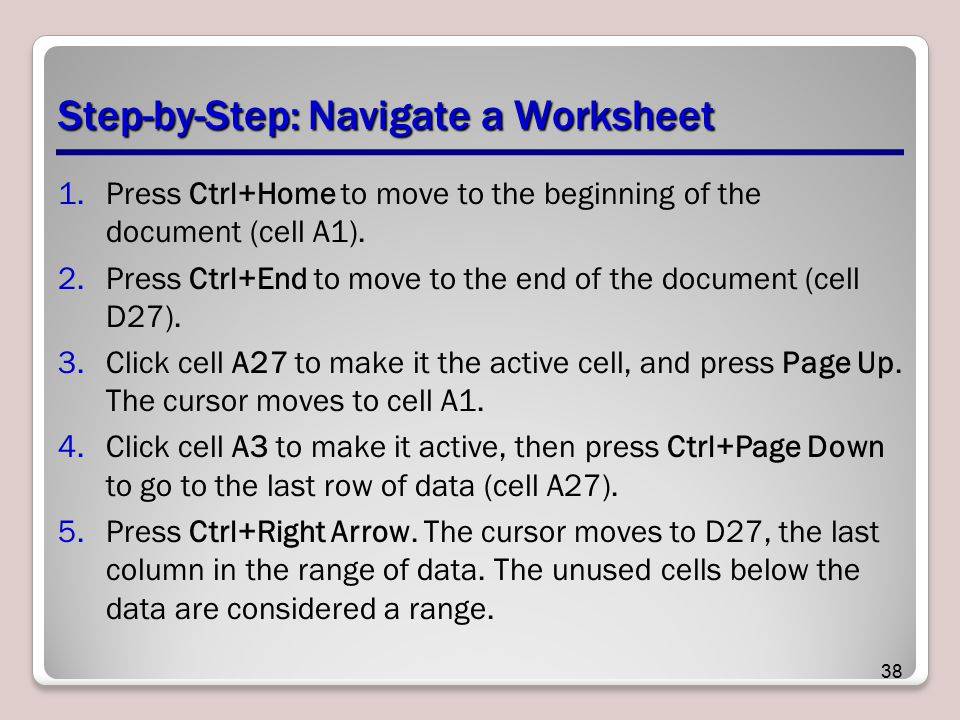 Step-by-Step: Navigate a Worksheet