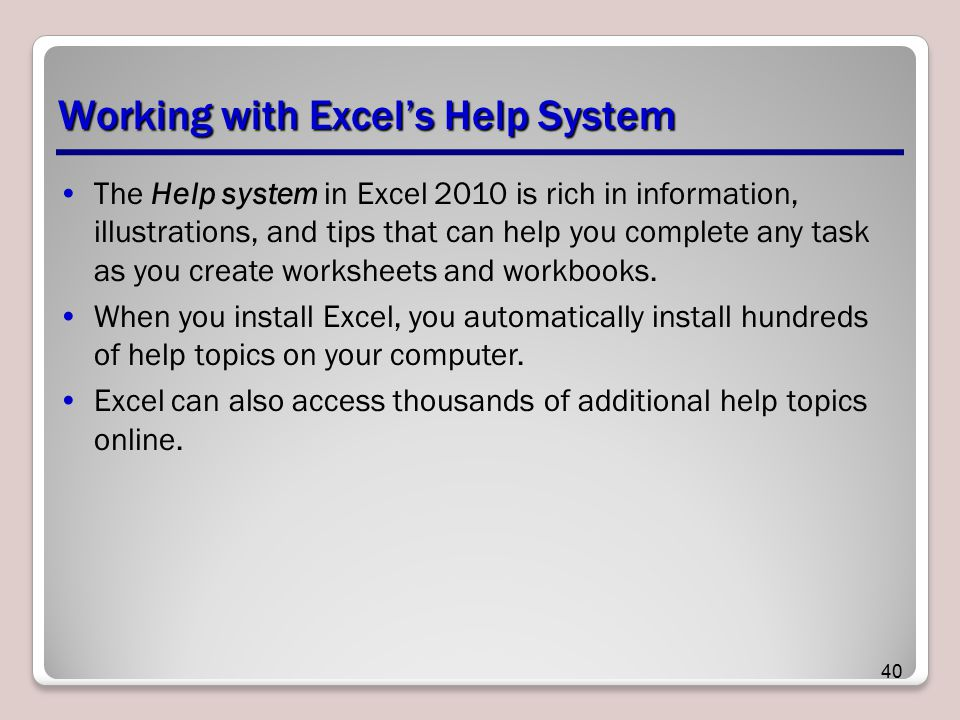 Working with Excel's Help System