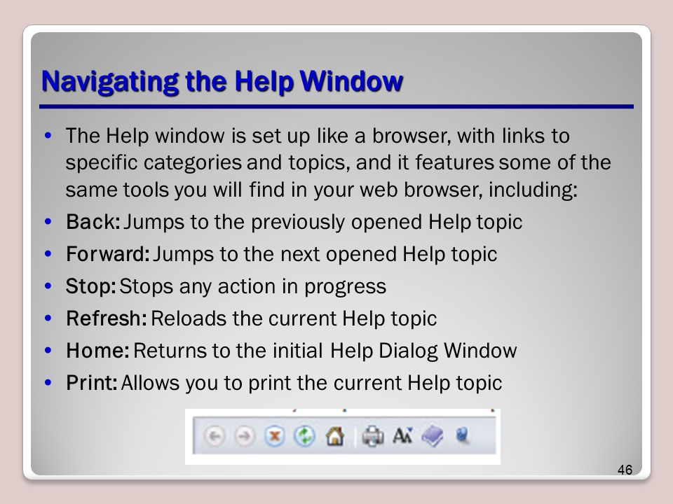 Navigating the Help Window