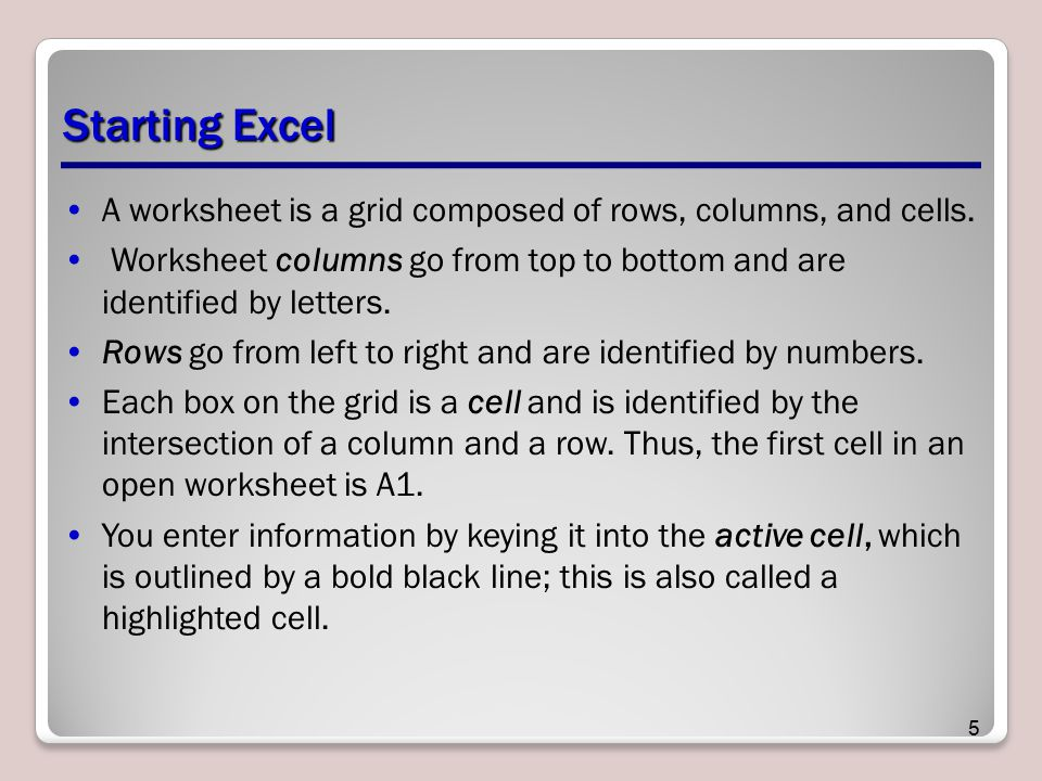 Starting Excel A worksheet is a grid composed of rows, columns, and cells. Worksheet columns go from top to bottom and are identified by letters.