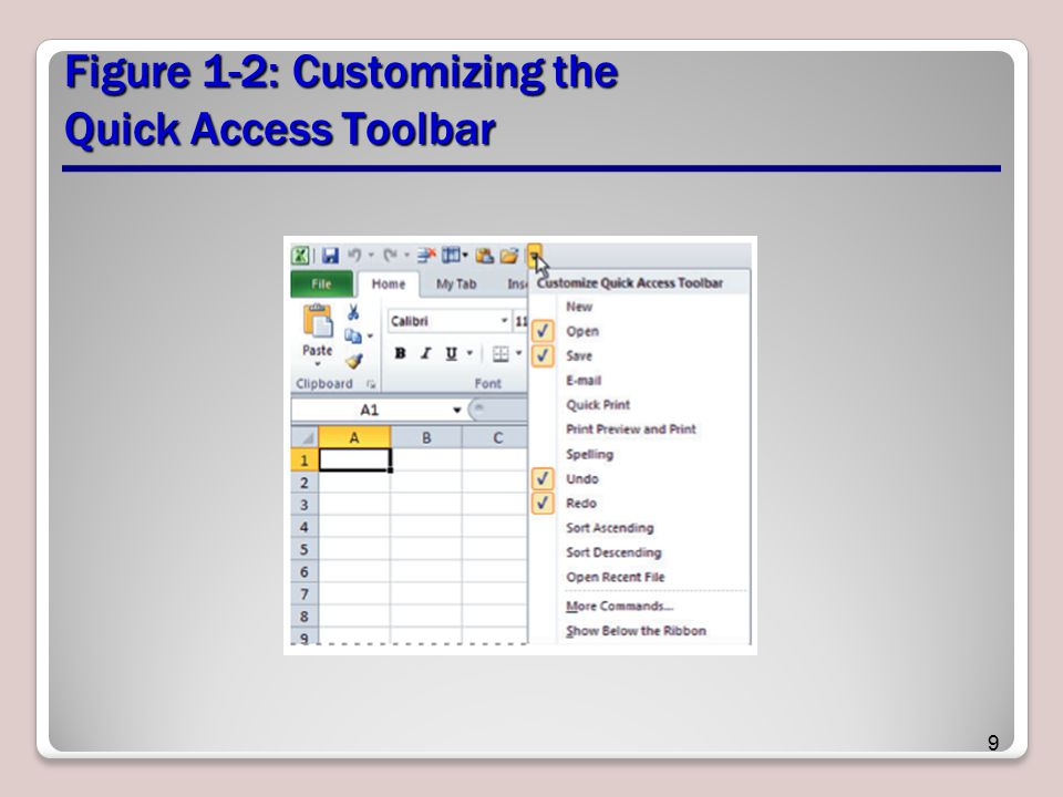 Figure 1-2: Customizing the Quick Access Toolbar