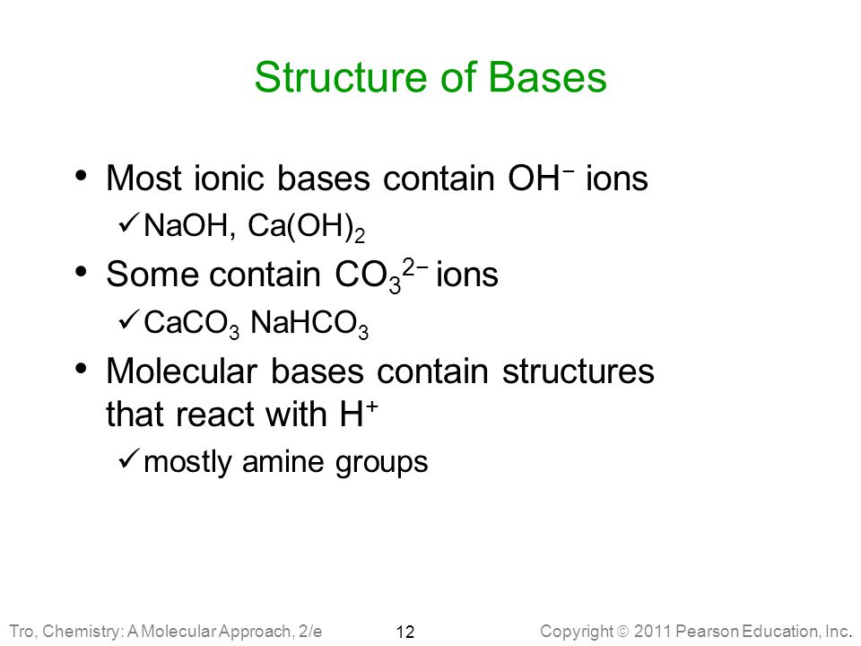 Structure of Bases Most ionic bases contain OH− ions