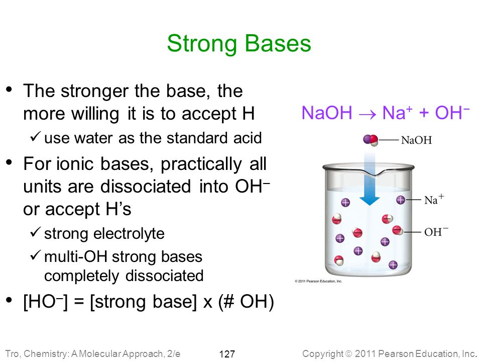Strong Bases The stronger the base, the more willing it is to accept H