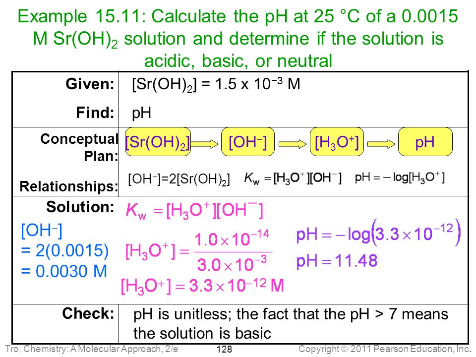 Example 15. 11: Calculate the pH at 25 °C of a 0