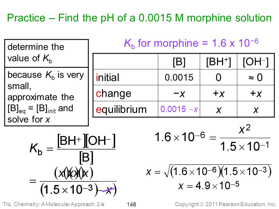 Practice – Find the pH of a 0.0015 M morphine solution