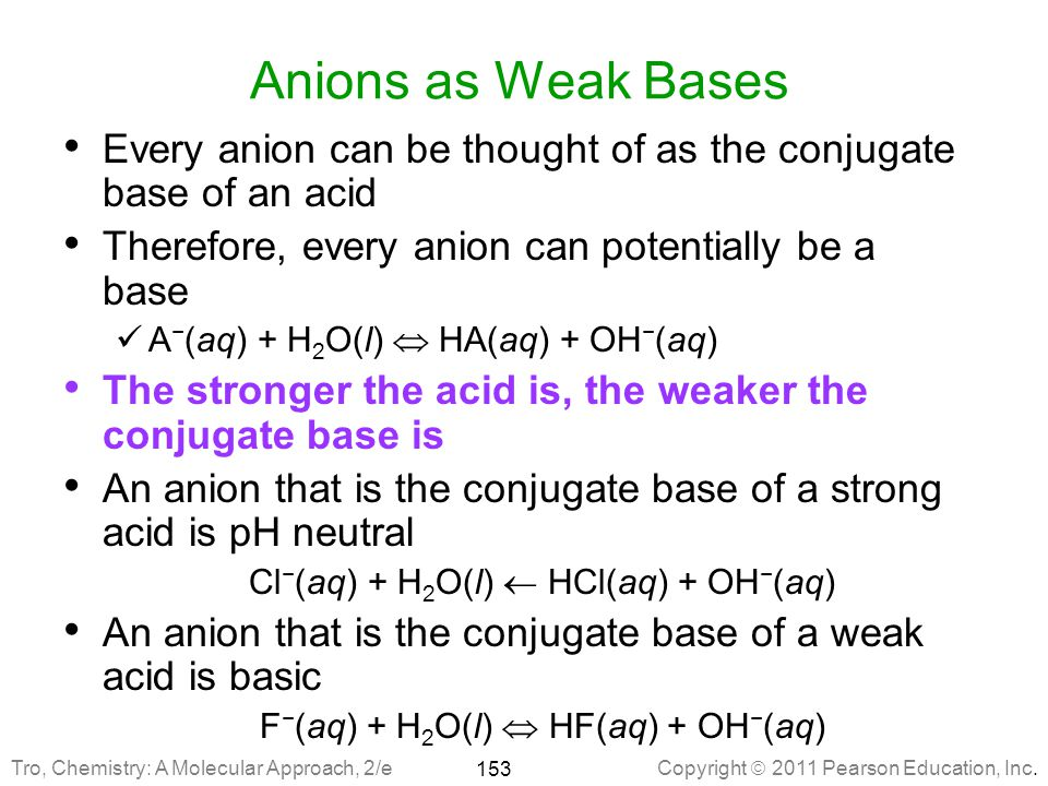 Anions as Weak Bases Every anion can be thought of as the conjugate base of an acid. Therefore, every anion can potentially be a base.