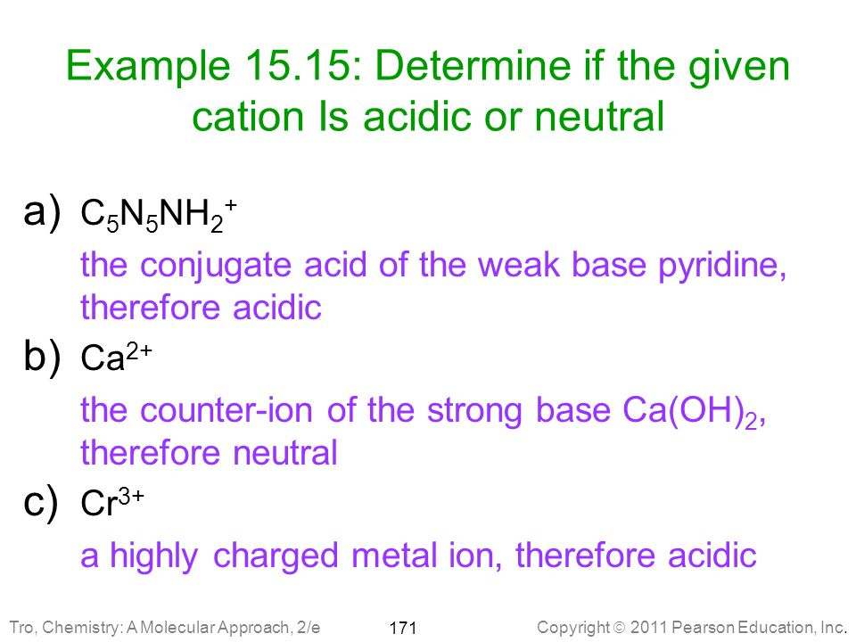 Example 15.15: Determine if the given cation Is acidic or neutral