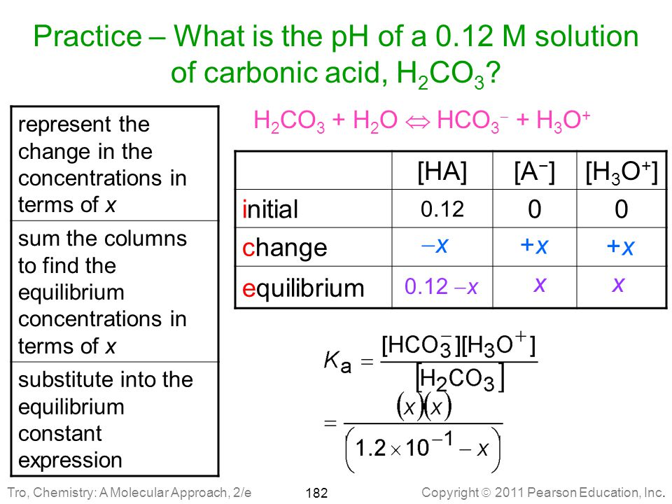 Practice – What is the pH of a 0.12 M solution of carbonic acid, H2CO3