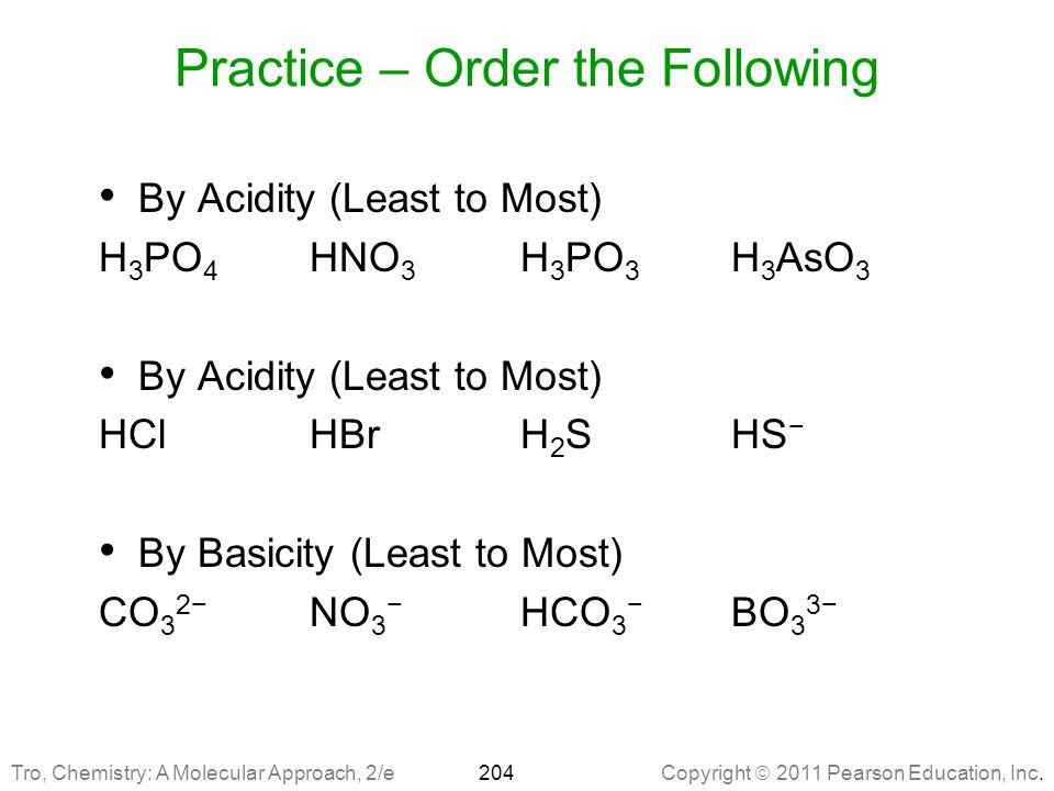 Practice – Order the Following