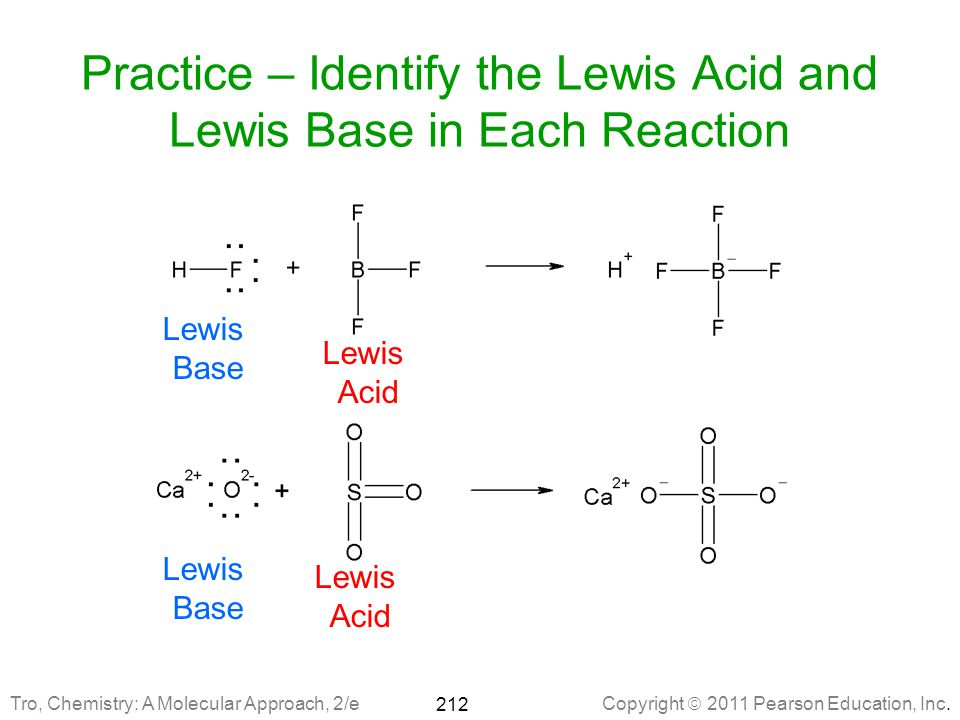 Practice – Identify the Lewis Acid and Lewis Base in Each Reaction