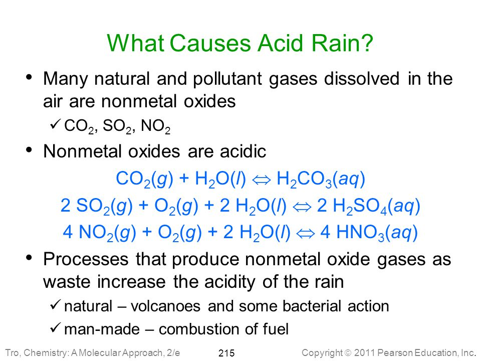 What Causes Acid Rain Many natural and pollutant gases dissolved in the air are nonmetal oxides. CO2, SO2, NO2.
