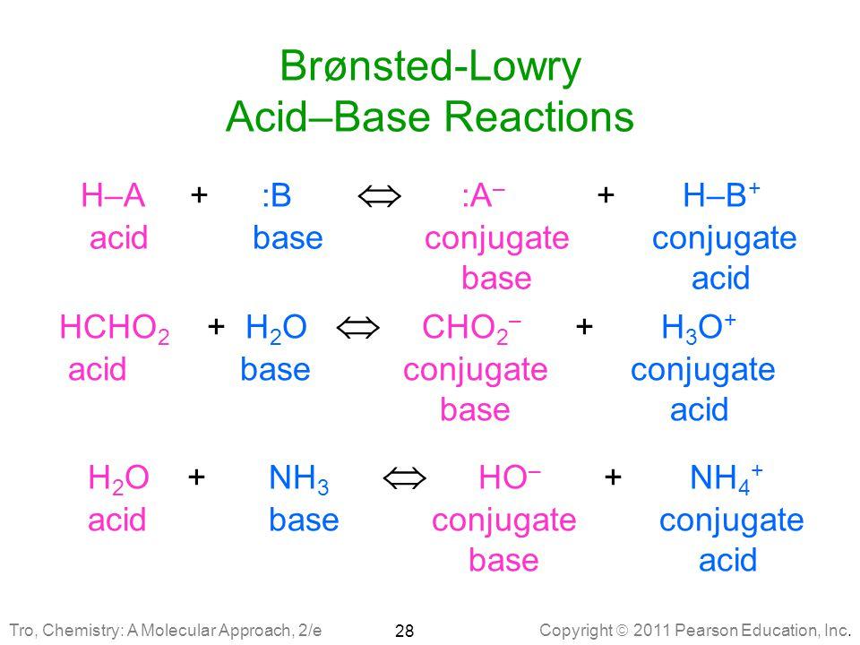 Brønsted-Lowry Acid–Base Reactions