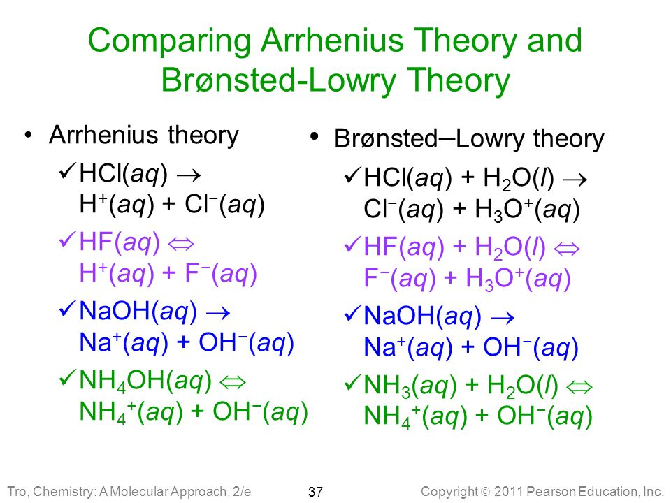 Comparing Arrhenius Theory and Brønsted-Lowry Theory