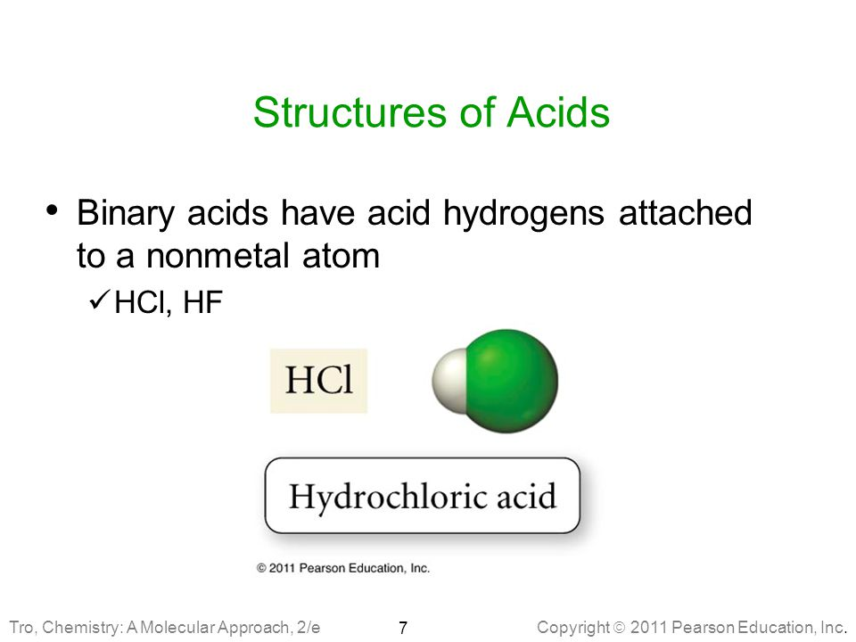 Structures of Acids Binary acids have acid hydrogens attached to a nonmetal atom.