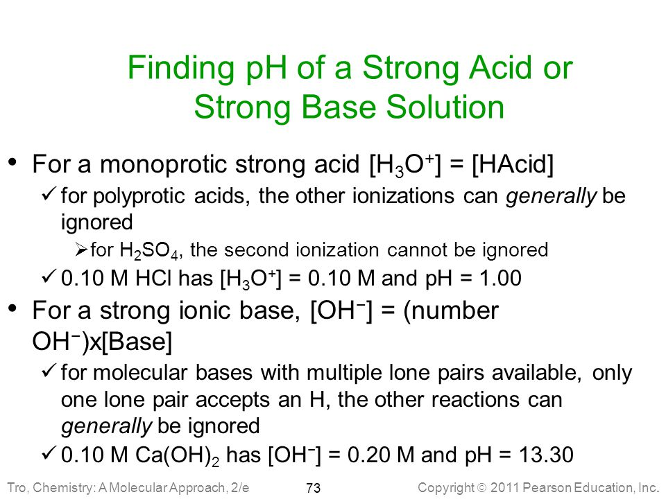 Finding pH of a Strong Acid or Strong Base Solution