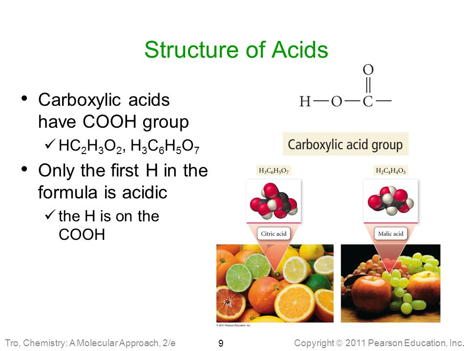 Structure of Acids Carboxylic acids have COOH group