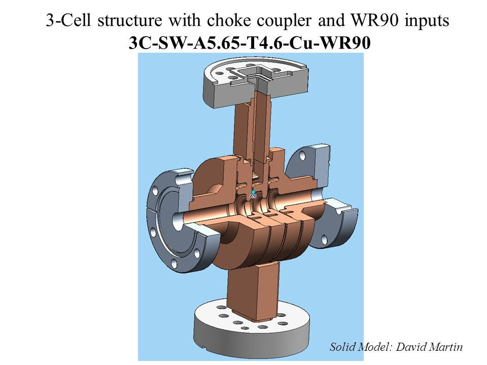 3-Cell structure with choke coupler and WR90 inputs 3C-SW-A5. 65-T4