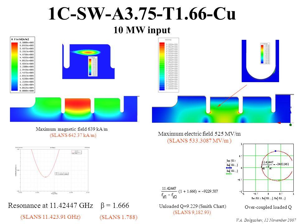 1C-SW-A3.75-T1.66-Cu 10 MW input Resonance at 11.42447 GHz β = 1.666