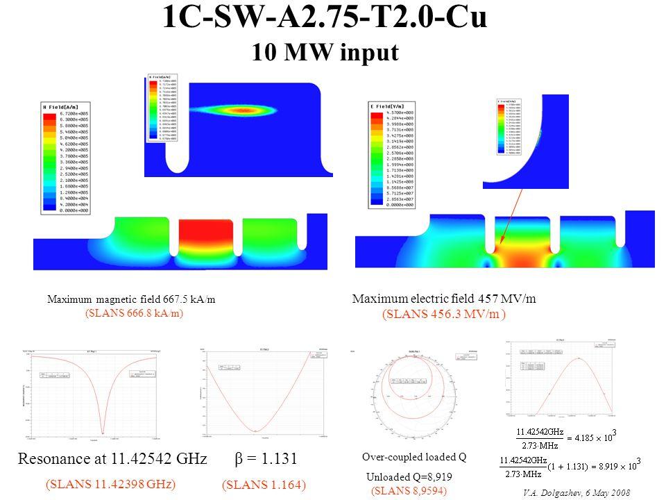 1C-SW-A2.75-T2.0-Cu 10 MW input Resonance at 11.42542 GHz β = 1.131