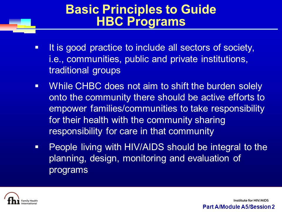 Basic Principles to Guide HBC Programs