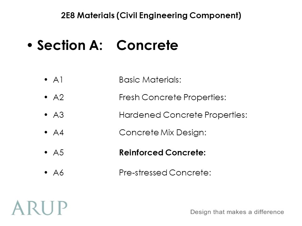 Section A: Concrete A1 Basic Materials: A2 Fresh Concrete Properties: