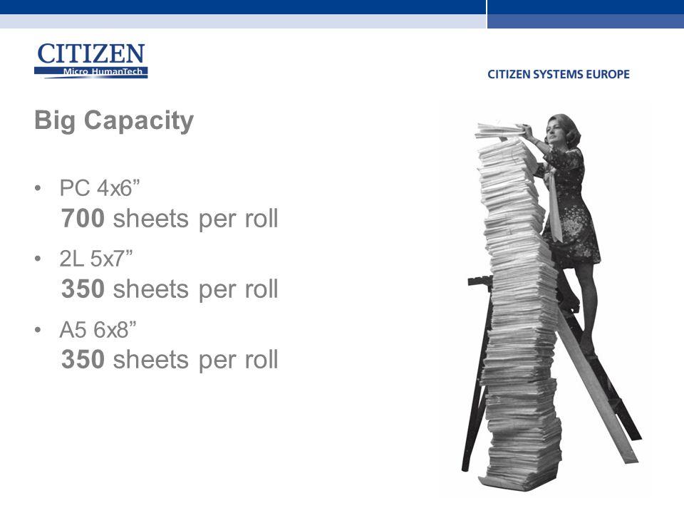 Big Capacity 700 sheets per roll 350 sheets per roll PC 4x6 2L 5x7