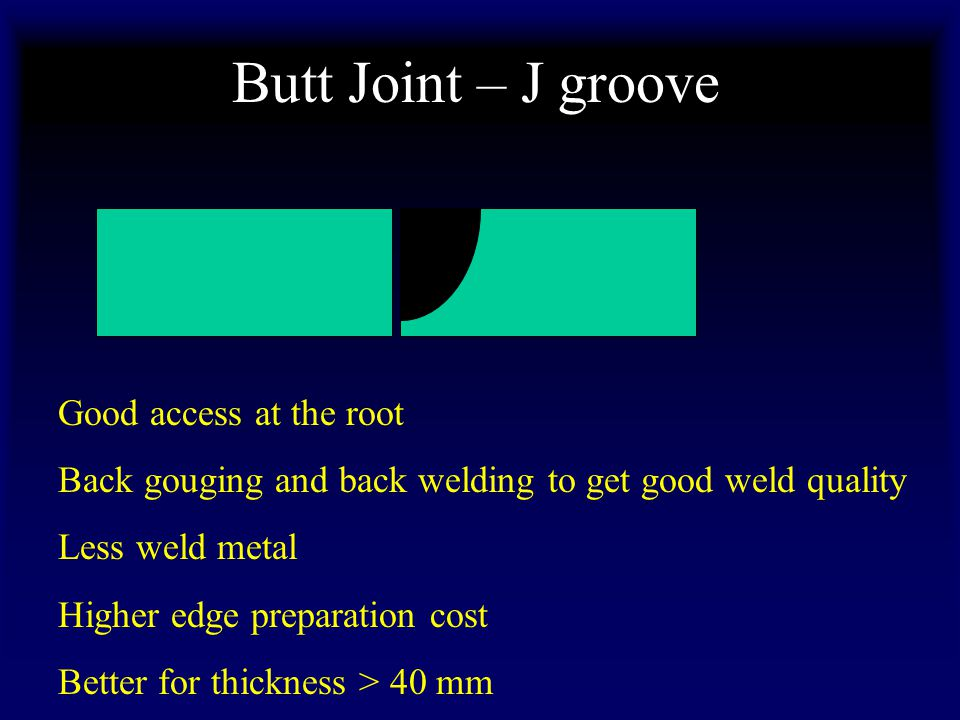 Butt Joint – J groove Good access at the root