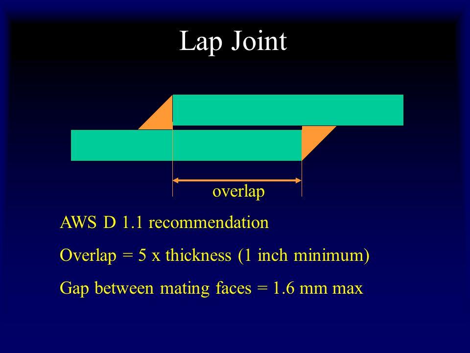 Lap Joint overlap AWS D 1.1 recommendation