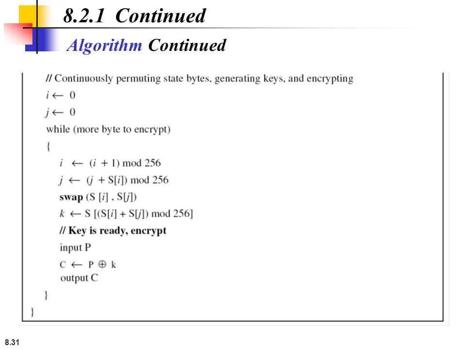 8.2.1 Continued Algorithm Continued