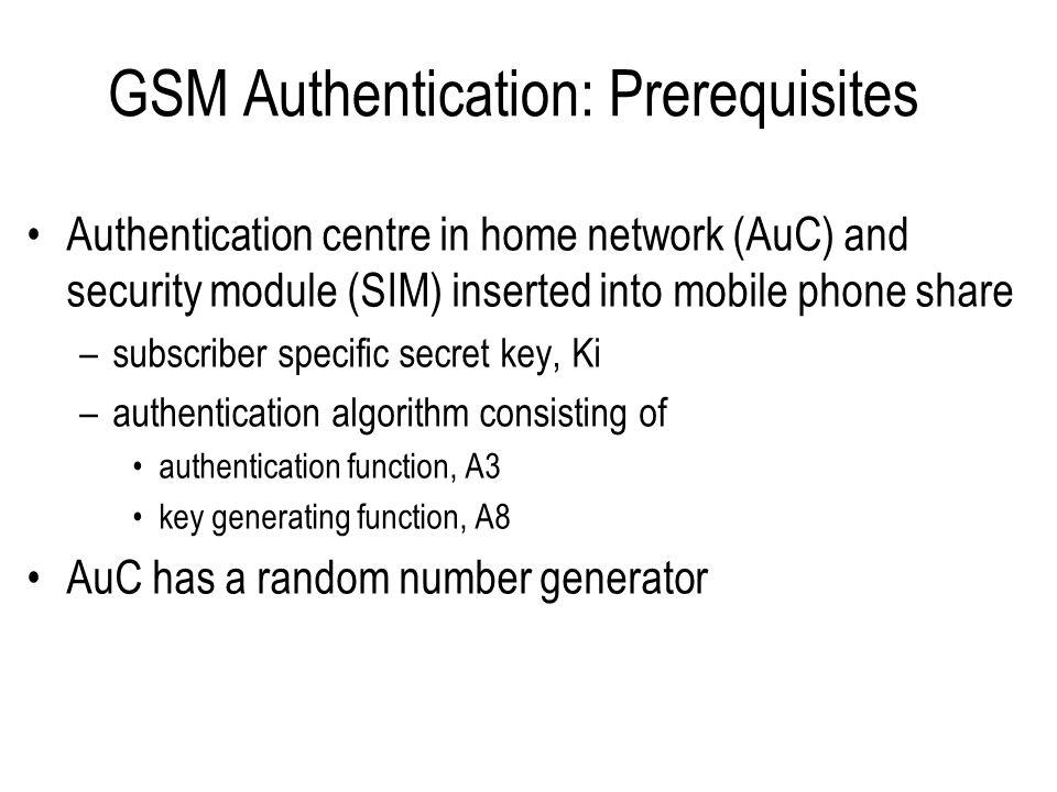 GSM Authentication: Prerequisites